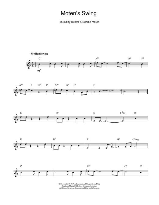 Bennie Moten Moten's Swing sheet music notes printable PDF score