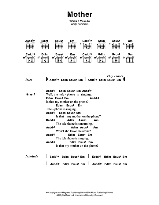 The Police Mother sheet music notes printable PDF score