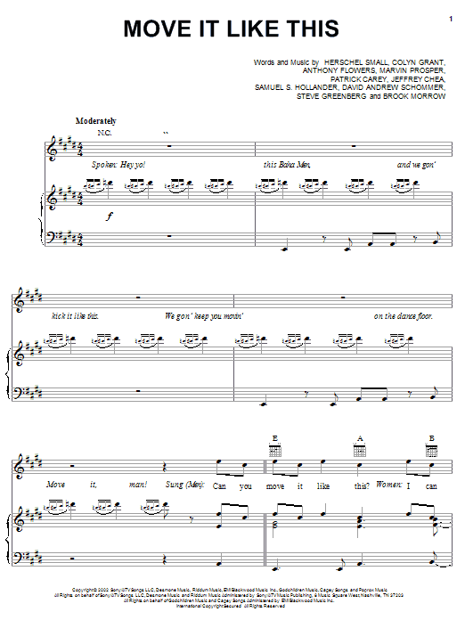 Baha Men Move It Like This sheet music notes printable PDF score