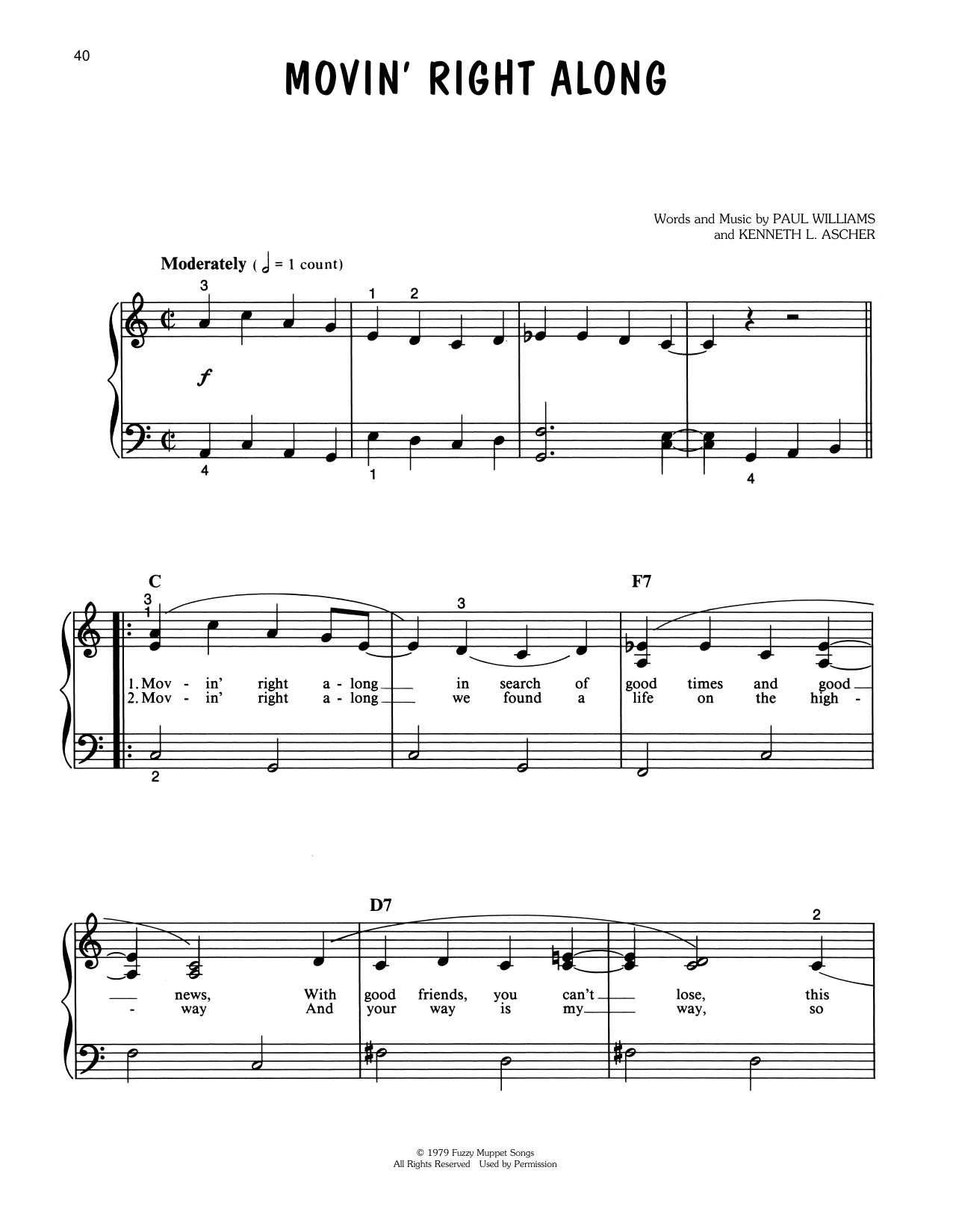Paul Williams Movin' Right Along (from The Muppet Movie) sheet music notes printable PDF score