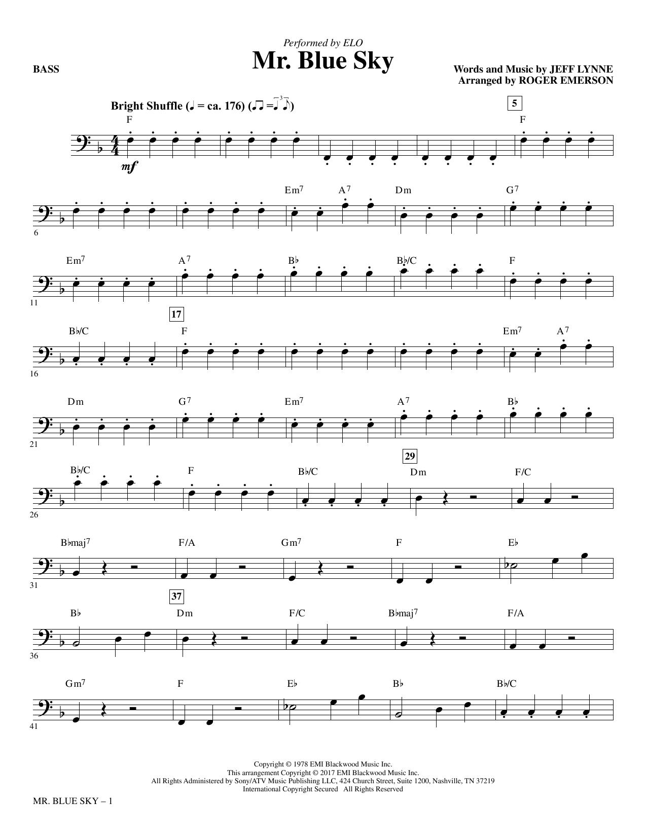 Roger Emerson Mr. Blue Sky - Bass sheet music notes printable PDF score