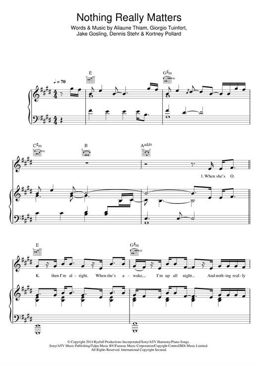 Mr Probz Nothing Really Matters sheet music notes and chords. Download Printable PDF.