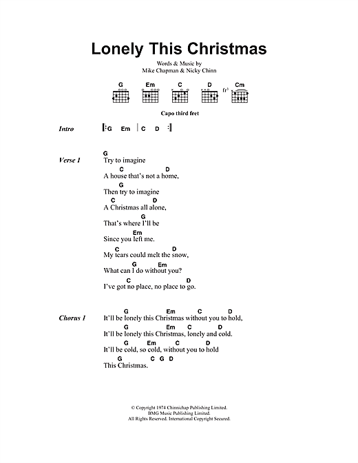 Mud Lonely This Christmas sheet music notes printable PDF score