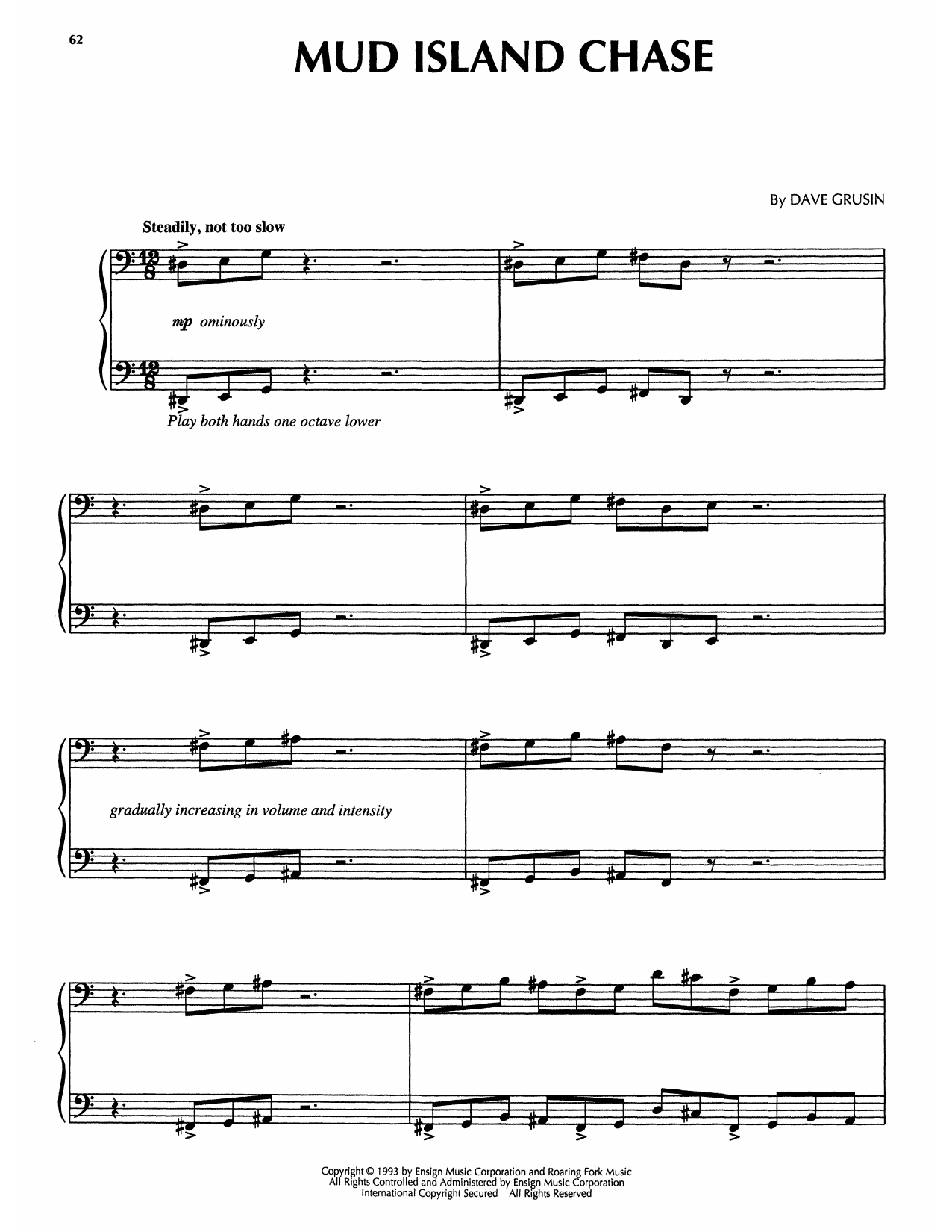 Dave Grusin Mud Island Chase (from The Firm) sheet music notes printable PDF score