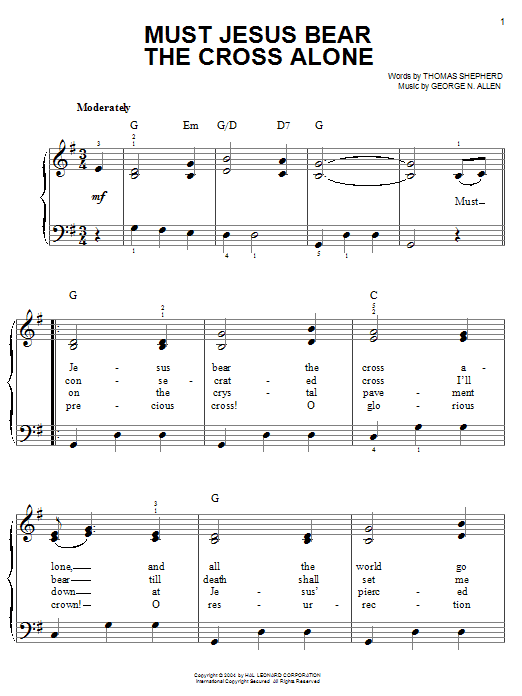Thomas Shepherd Must Jesus Bear The Cross Alone sheet music notes printable PDF score