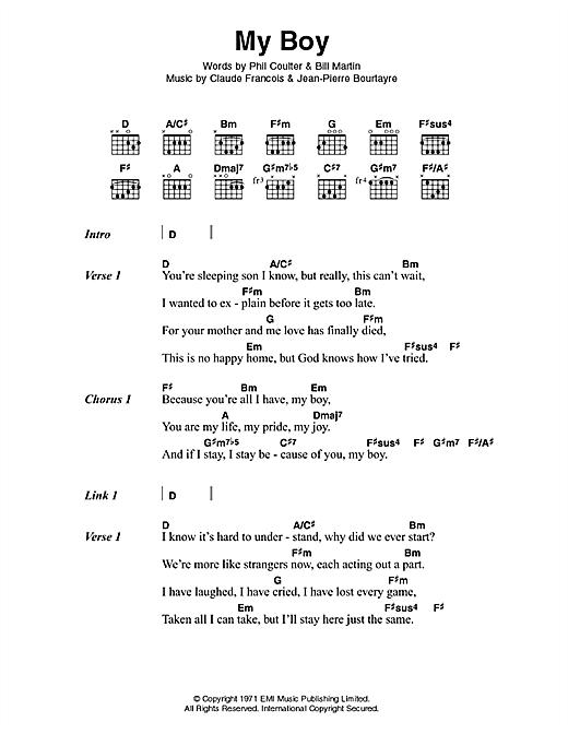 Elvis Presley My Boy sheet music notes printable PDF score