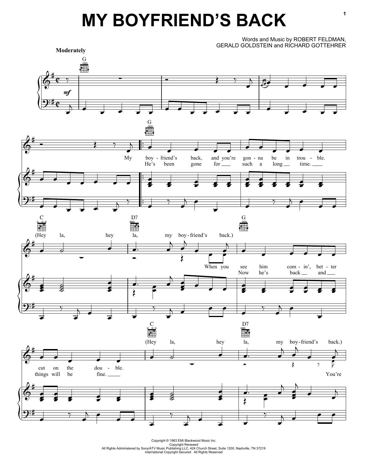 Bobby Comstock My Boyfriend's Back sheet music notes printable PDF score
