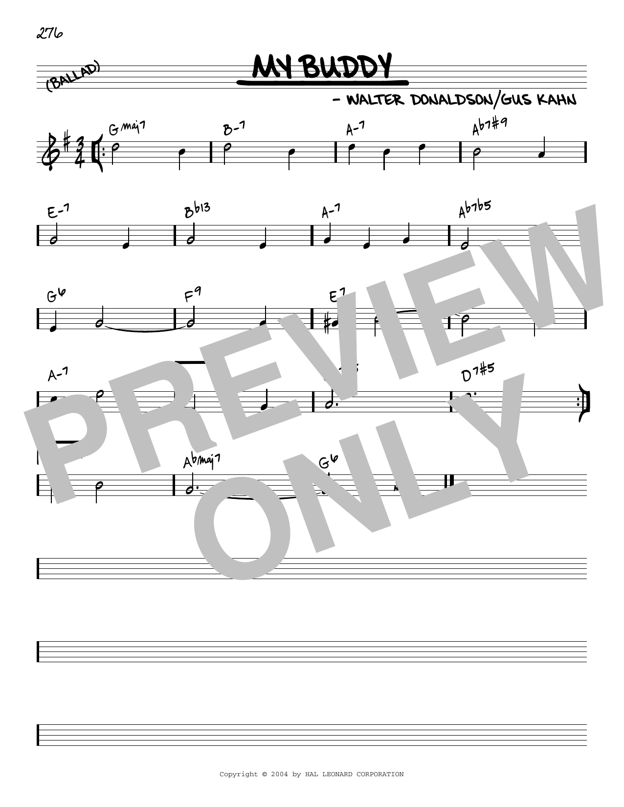 Walter Donaldson and Gus Kahn My Buddy [Reharmonized version] (arr. Jack Grassel) sheet music notes printable PDF score