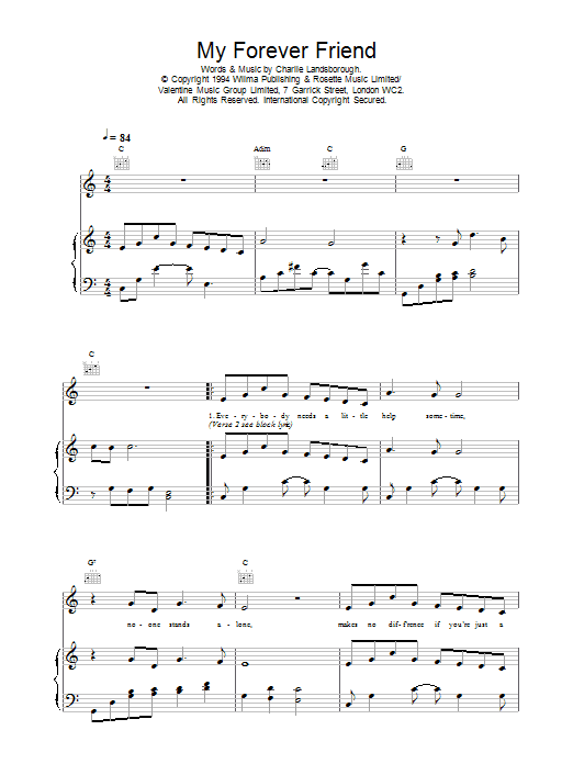 Daniel O'Donnell My Forever Friend sheet music notes printable PDF score