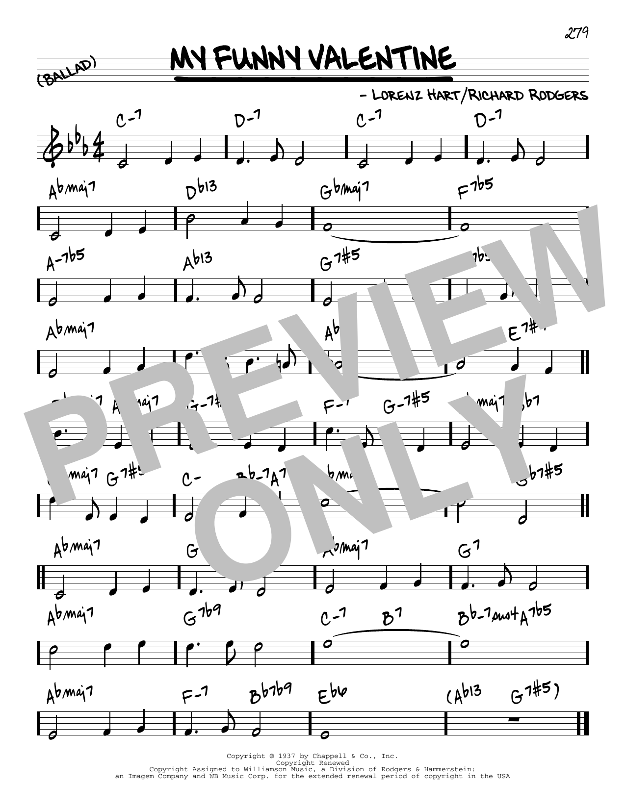 Rodgers & Hart My Funny Valentine [Reharmonized version] (from Babes In Arms) (arr. Jack Grassel) sheet music notes printable PDF score