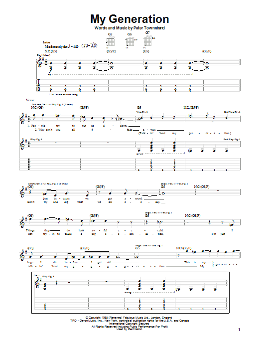 The Who My Generation sheet music notes printable PDF score