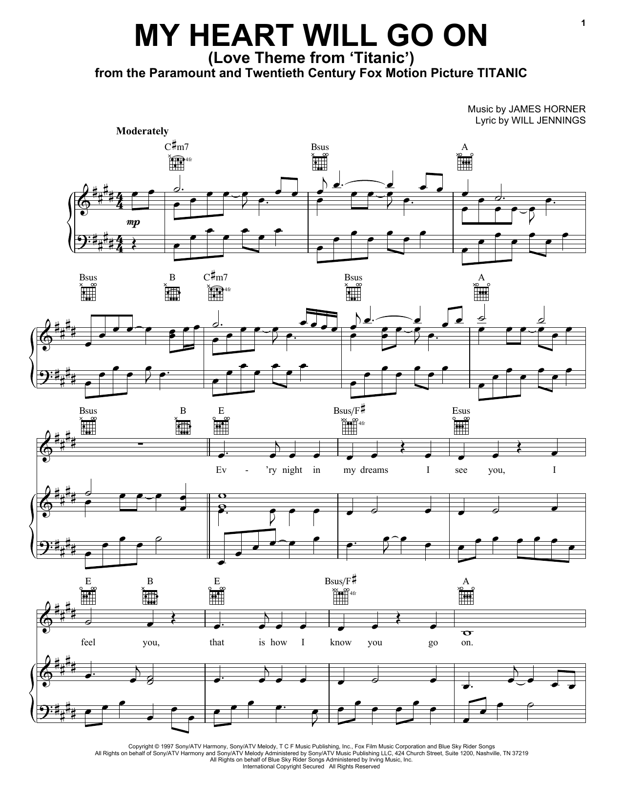 Celine Dion My Heart Will Go On (Love Theme from Titanic) sheet music notes printable PDF score