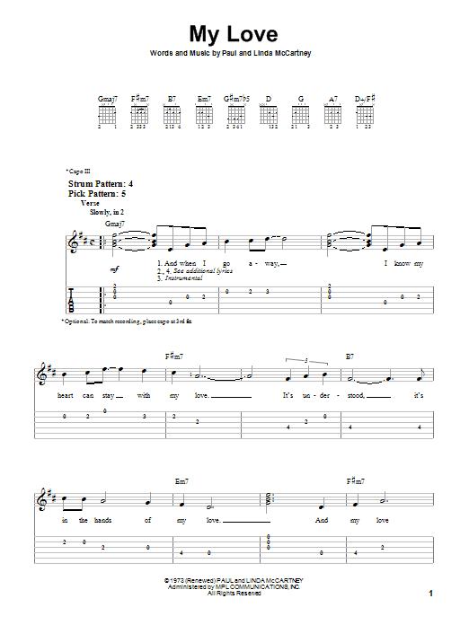 Paul McCartney My Love sheet music notes printable PDF score