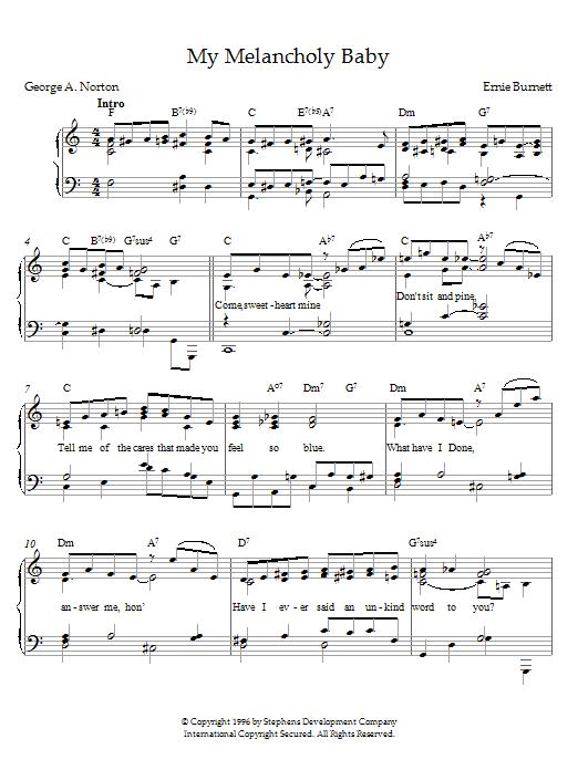 Ernie Burnett My Melancholy Baby sheet music notes printable PDF score