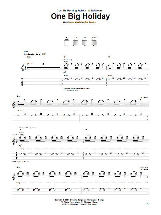 My Morning Jacket One Big Holiday sheet music notes and chords - download printable PDF.