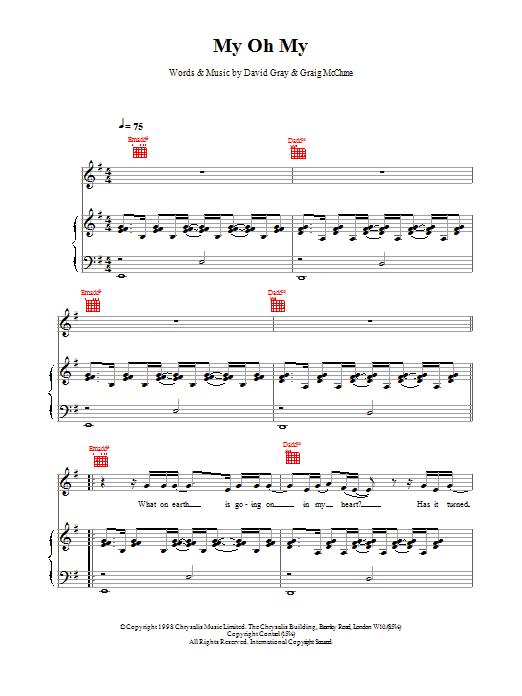 David Gray My Oh My sheet music notes printable PDF score