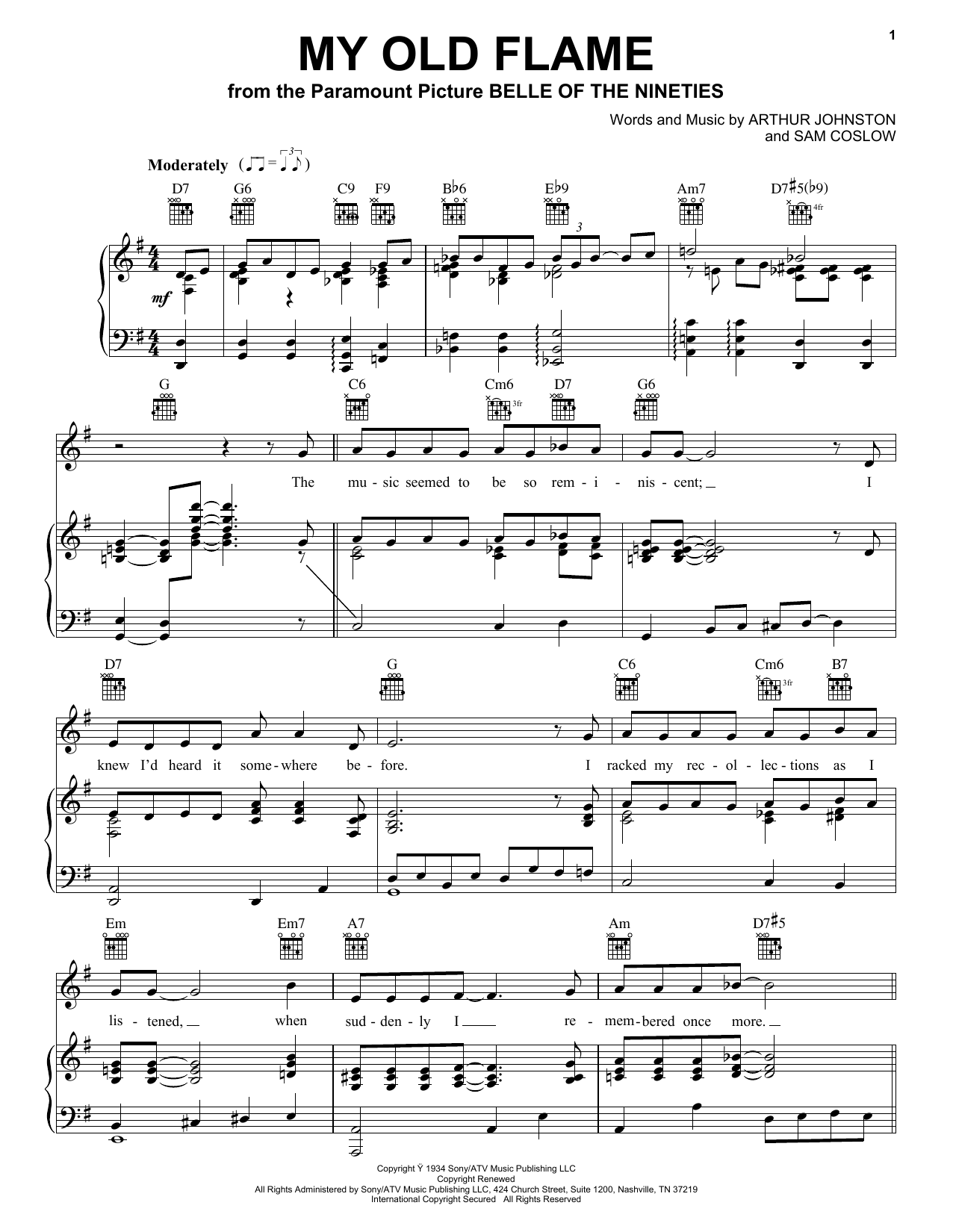 Peggy Lee My Old Flame sheet music notes printable PDF score
