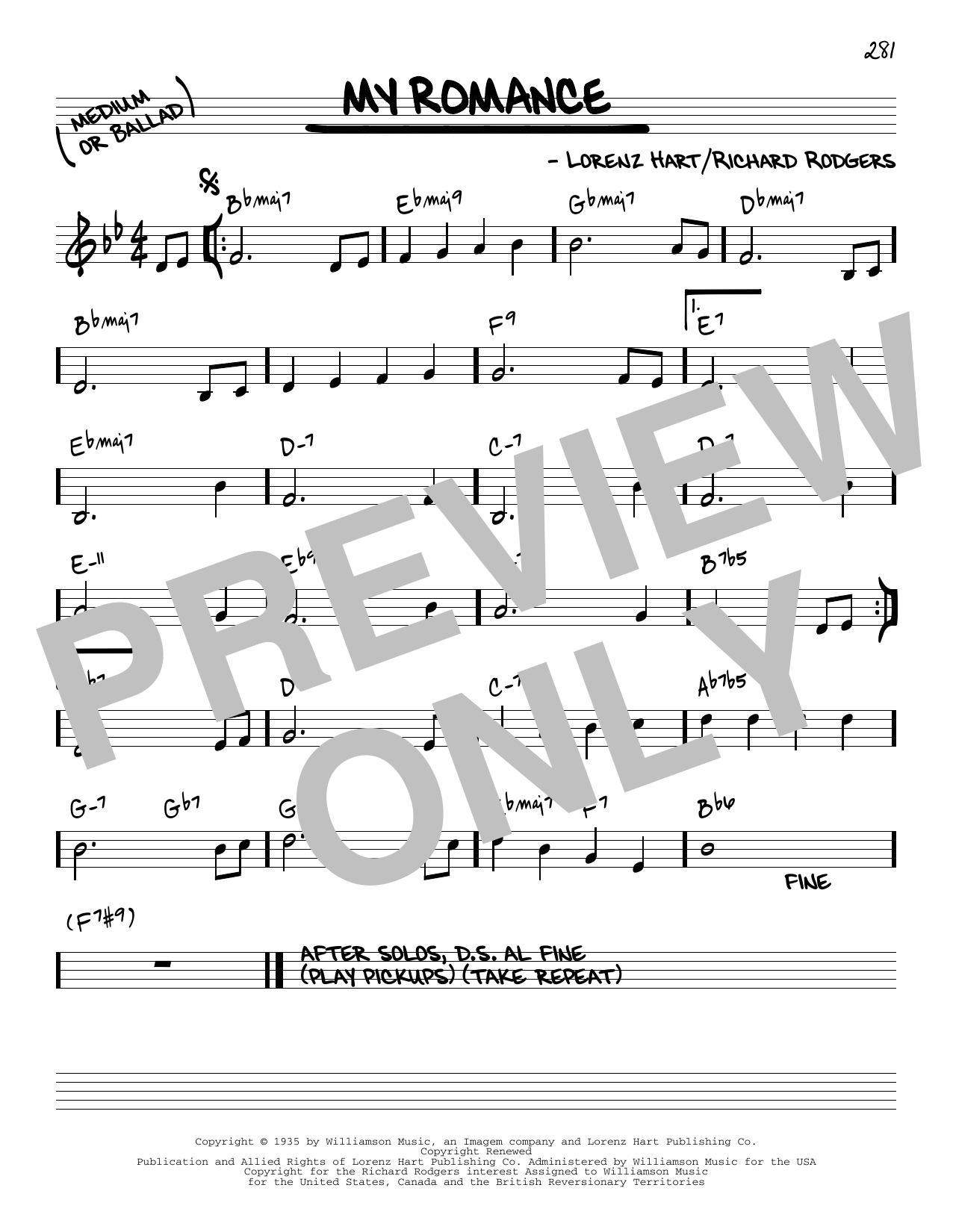 Rodgers & Hart My Romance [Reharmonized version] (from Jumbo) (arr. Jack Grassel) sheet music notes printable PDF score