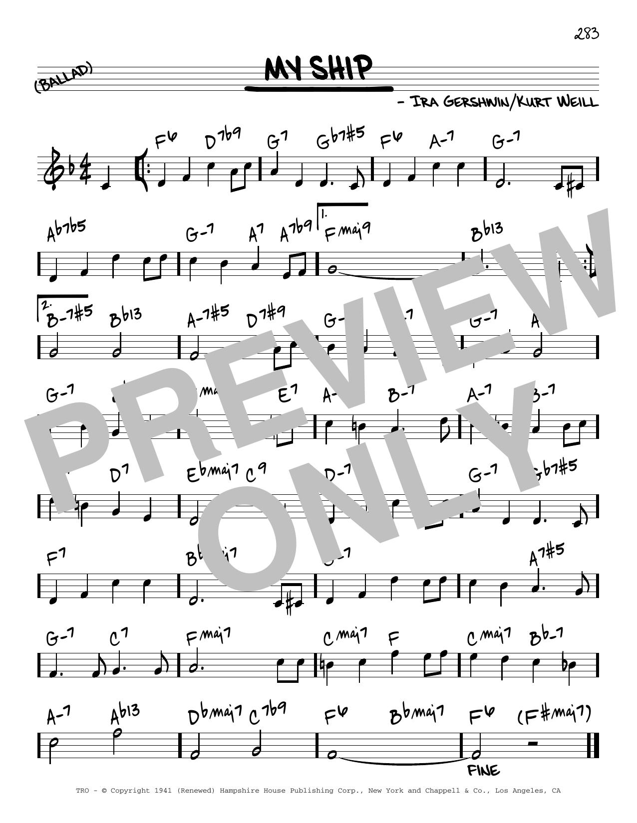 Miles Davis My Ship [Reharmonized version] (arr. Jack Grassel) sheet music notes printable PDF score