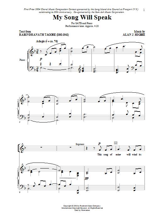 Alan Higbee My Song Will Speak sheet music notes printable PDF score