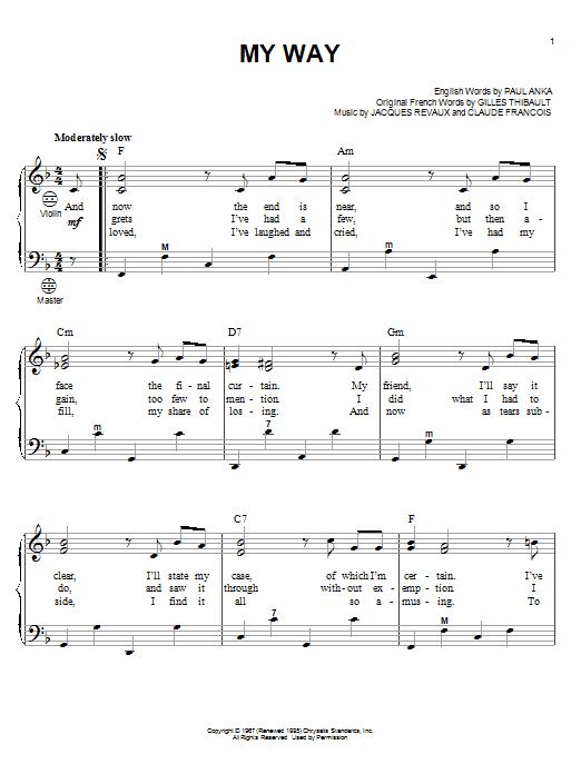 Frank Sinatra My Way sheet music notes printable PDF score