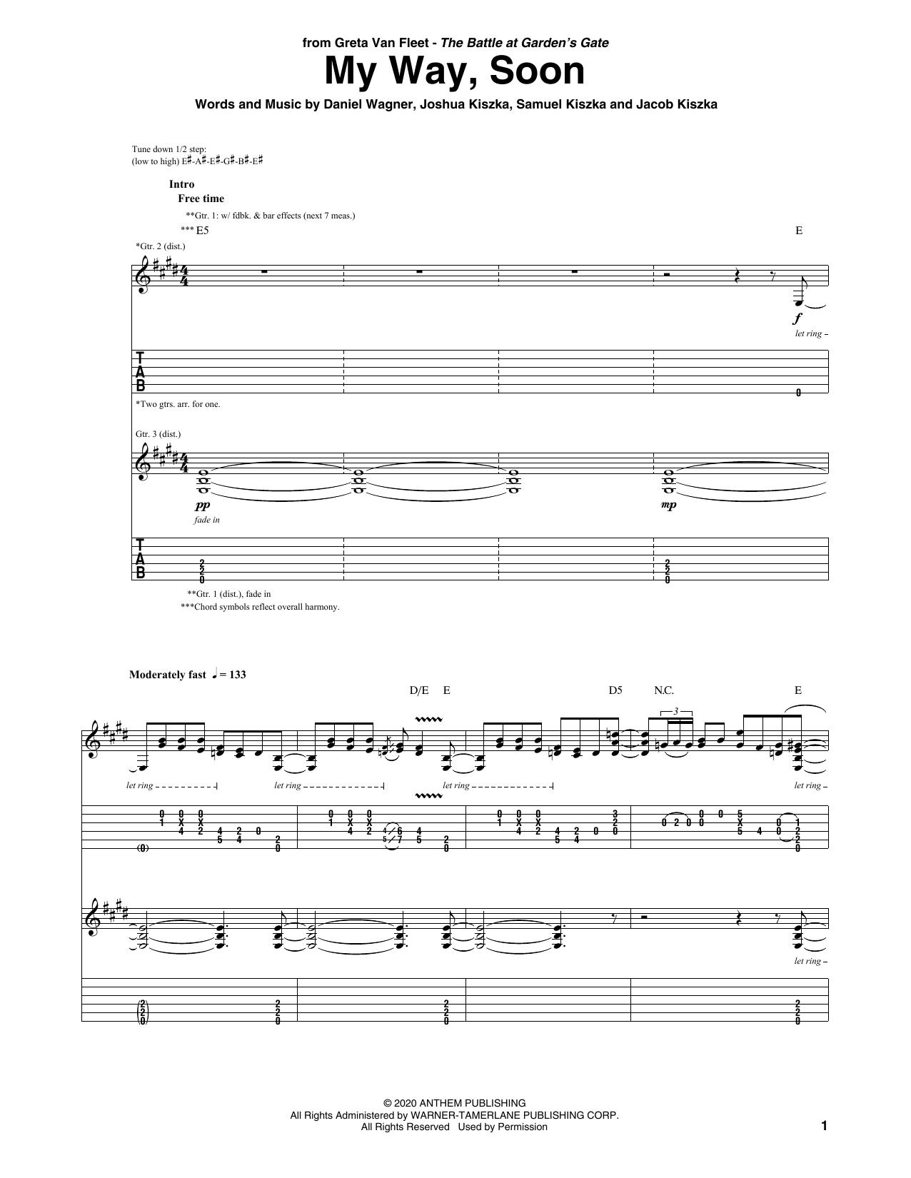 Greta Van Fleet My Way, Soon sheet music notes printable PDF score