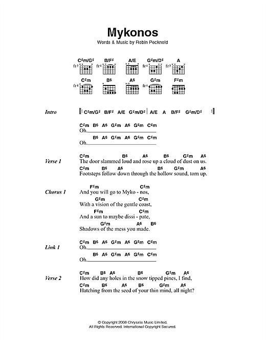 Fleet Foxes Mykonos sheet music notes printable PDF score