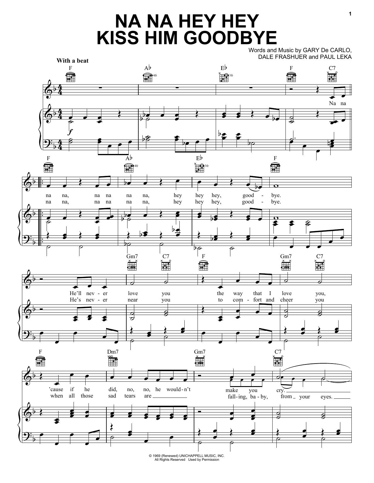 Steam Na Na Hey Hey Kiss Him Goodbye sheet music notes printable PDF score