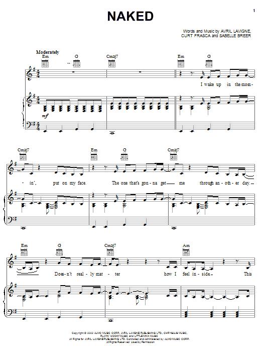 Avril Lavigne Naked sheet music notes printable PDF score