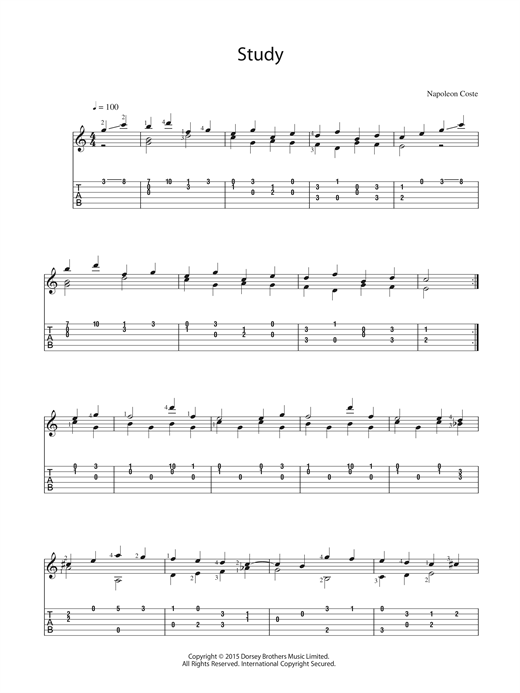 Napoleon Coste Study sheet music notes and chords. Download Printable PDF.