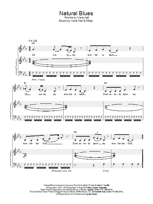 Moby Natural Blues sheet music notes printable PDF score