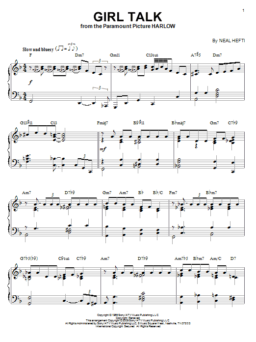 Neal Hefti Girl Talk (arr. Brent Edstrom) sheet music notes and chords. Download Printable PDF.