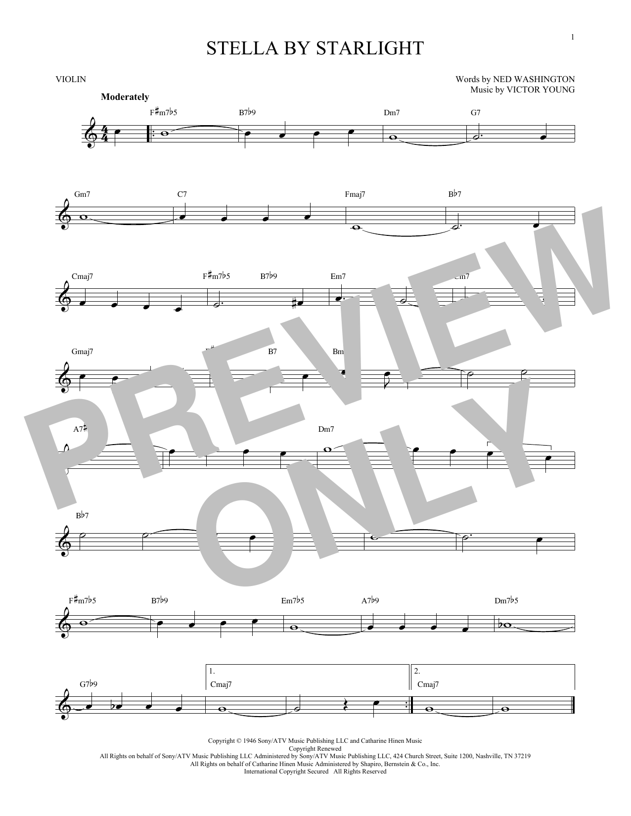 Ned Washington Stella By Starlight sheet music notes and chords. Download Printable PDF.