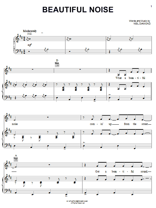 Neil Diamond Beautiful Noise sheet music notes and chords. Download Printable PDF.