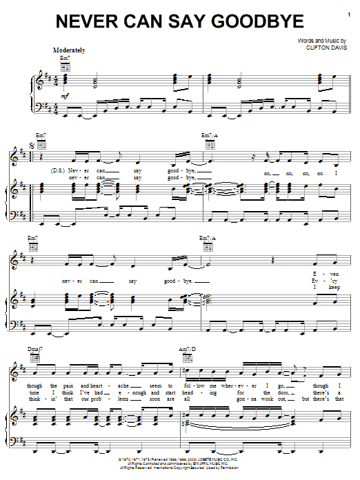 The Jackson 5 Never Can Say Goodbye sheet music notes printable PDF score