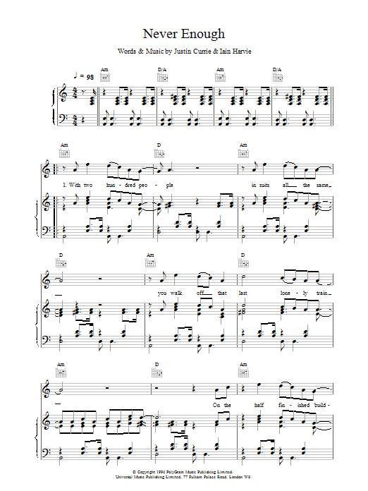 Del Amitri Never Enough sheet music notes printable PDF score