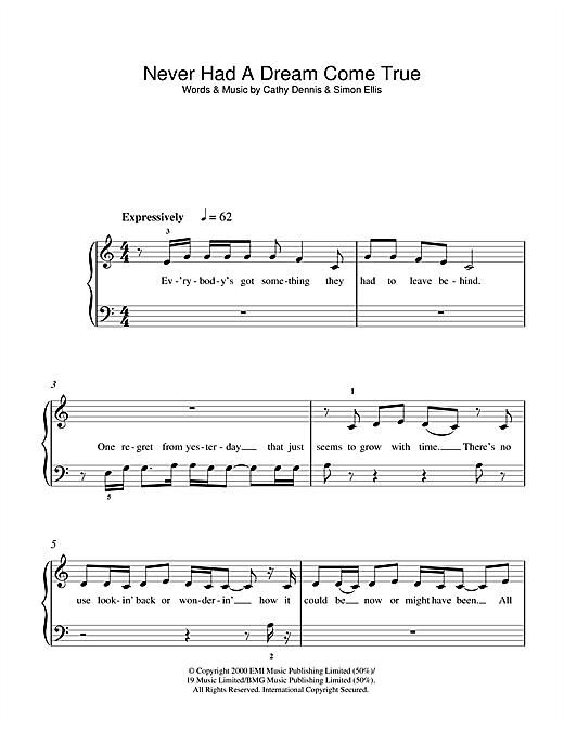 S Club 7 Never Had A Dream Come True sheet music notes printable PDF score