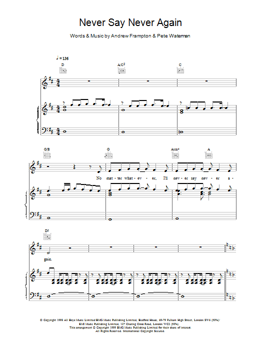 Steps Never Say Never Again sheet music notes printable PDF score