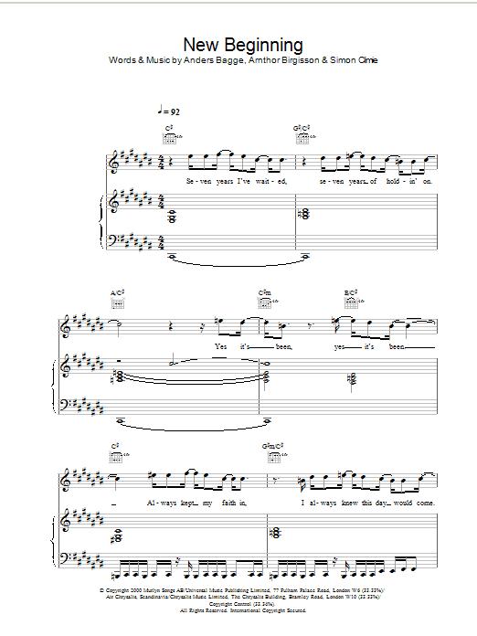 Stephen Gately New Beginning sheet music notes printable PDF score