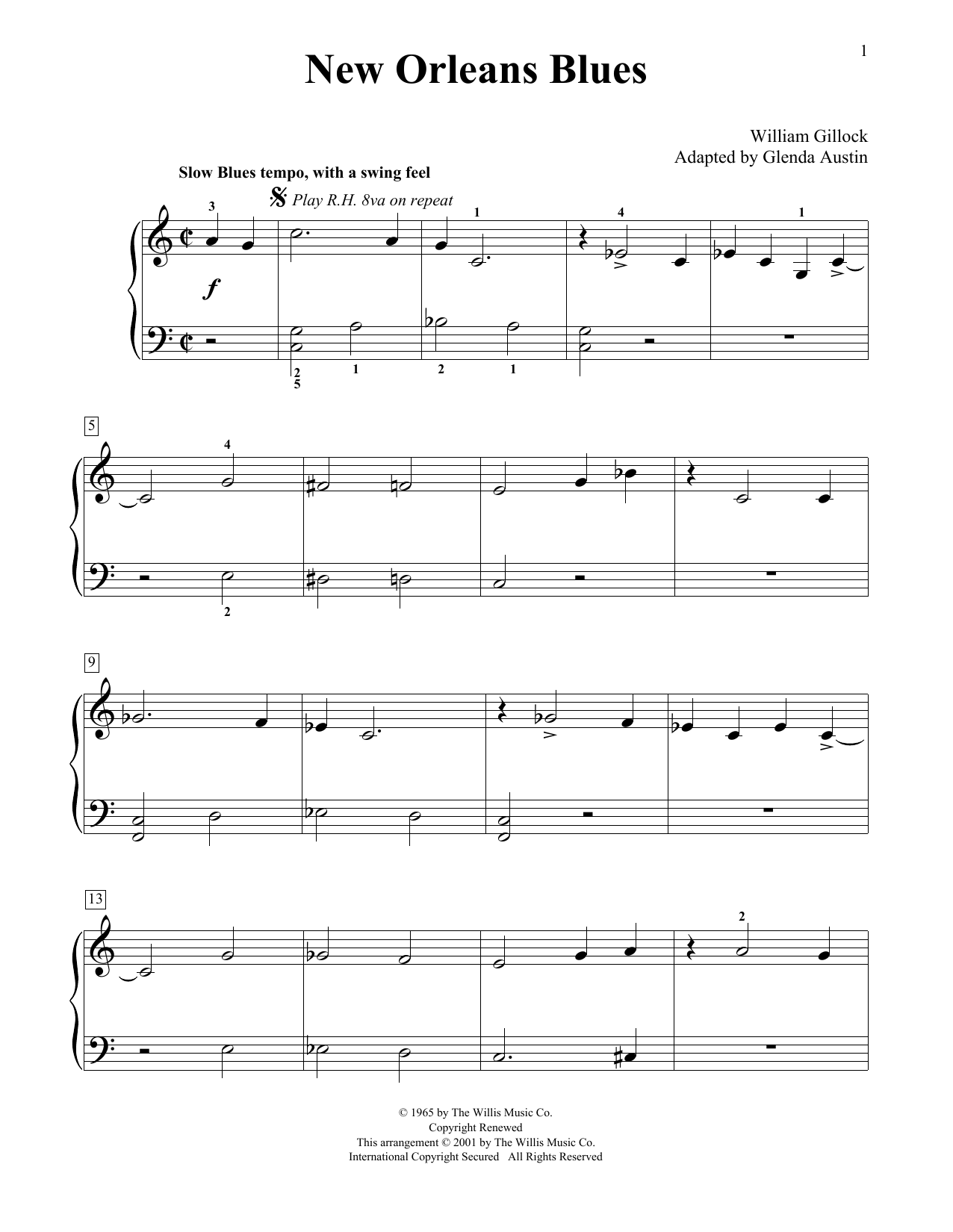 William Gillock New Orleans Blues (Simplified) (adapted by Glenda Austin) sheet music notes printable PDF score