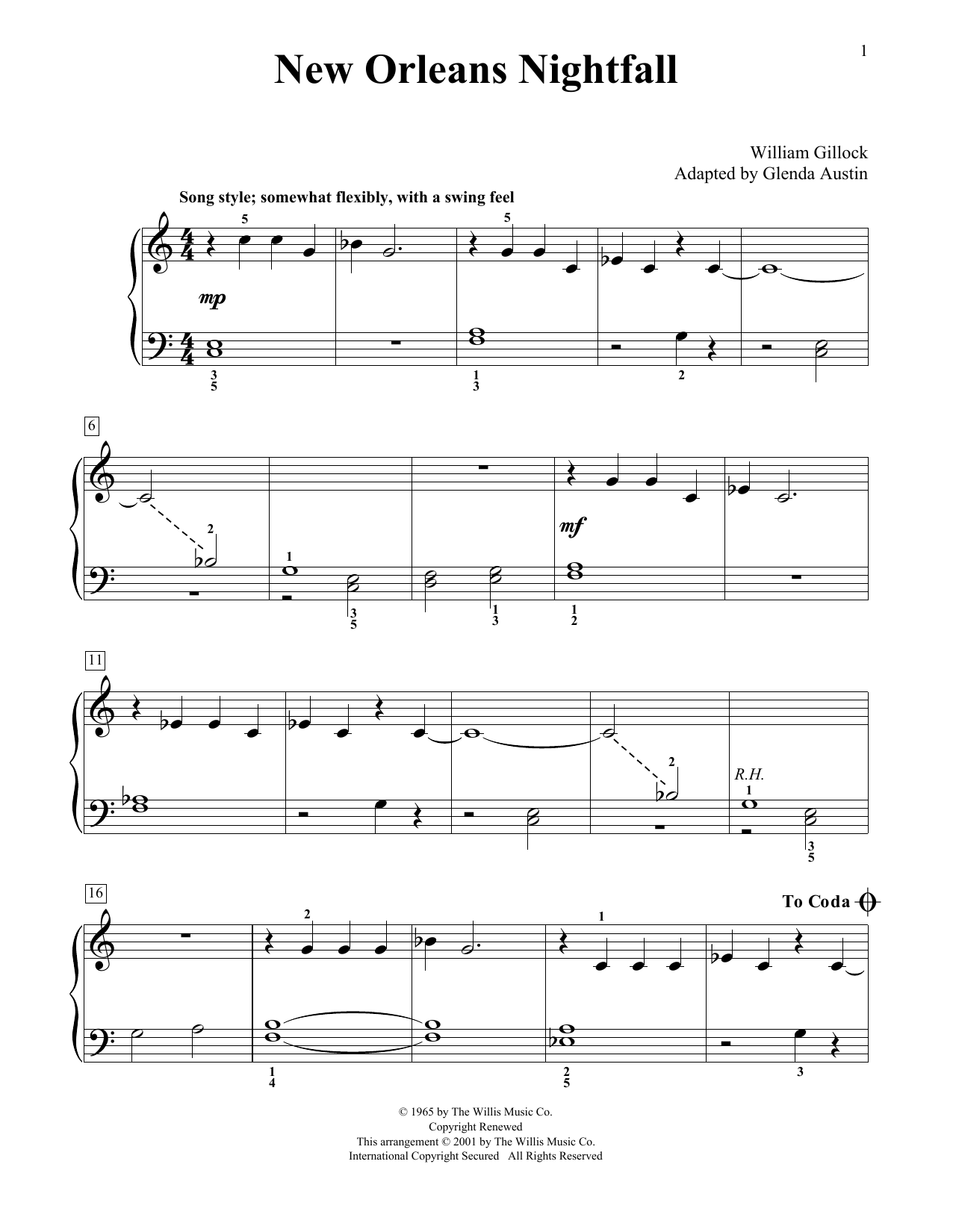 William Gillock New Orleans Nightfall (Simplified) (adapted by Glenda Austin) sheet music notes printable PDF score