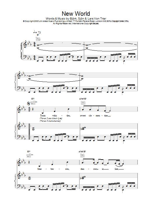 Bjork New World (from Dancer In The Dark) sheet music notes printable PDF score