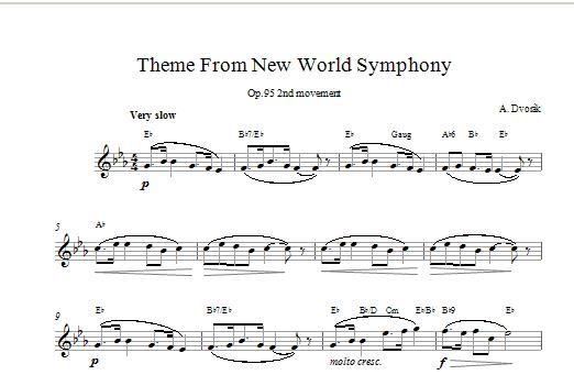 Antonin Dvorak Largo (from The New World) sheet music notes printable PDF score