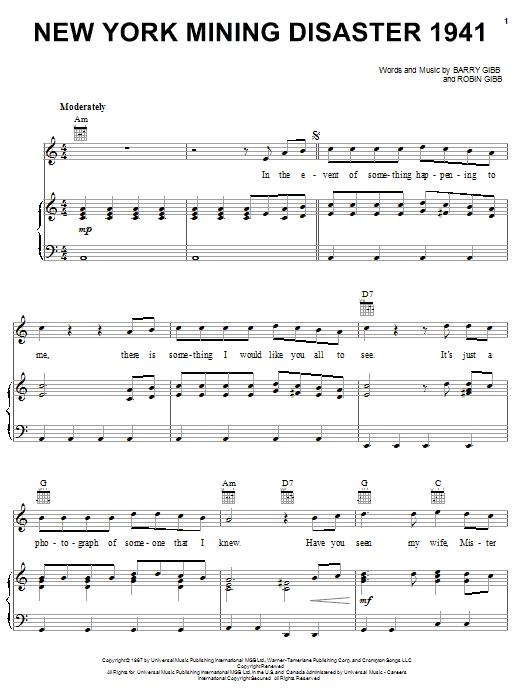 Bee Gees New York Mining Disaster 1941 sheet music notes printable PDF score