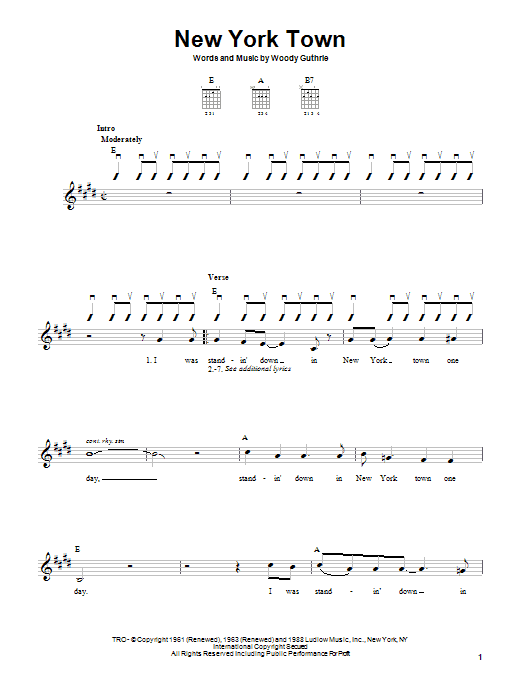 Woody Guthrie New York Town sheet music notes printable PDF score