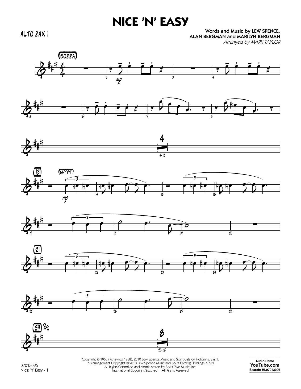Mark Taylor Nice 'n' Easy - Alto Sax 1 sheet music notes printable PDF score