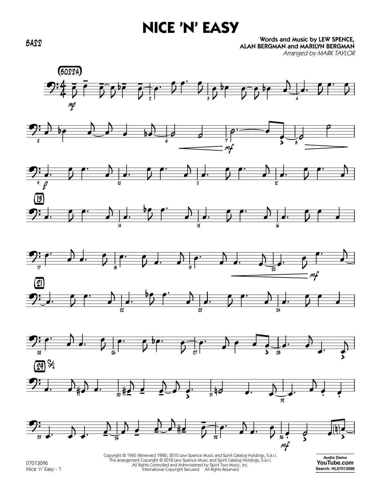 Mark Taylor Nice 'n' Easy - Bass sheet music notes printable PDF score