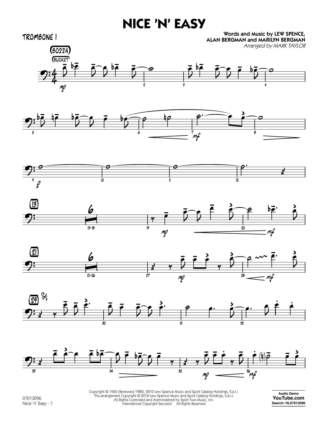 Mark Taylor Nice 'n' Easy - Trombone 1 sheet music notes printable PDF score