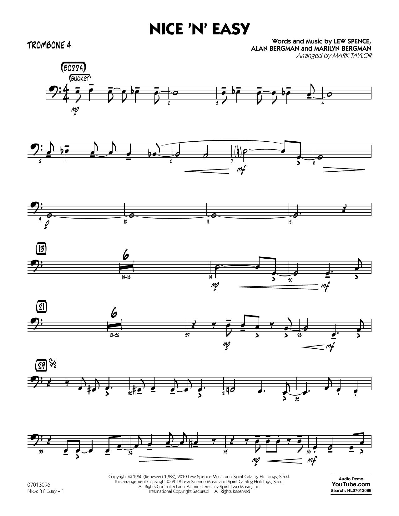 Mark Taylor Nice 'n' Easy - Trombone 4 sheet music notes printable PDF score