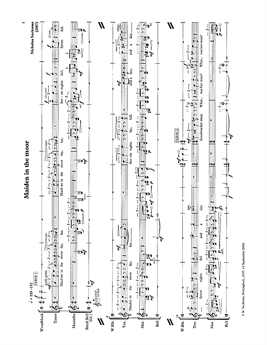 Nicholas Sackman Maiden in the moor (for tenor & percussion) sheet music notes printable PDF score